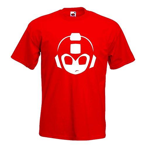 KIWISTAR - Mega Man MegaMan Kopf T-Shirt in 15 verschiedenen Farben - Herren Funshirt bedruckt Design Sprüche Spruch Motive Oberteil Baumwolle Print Größe S M L XL XXL Rot