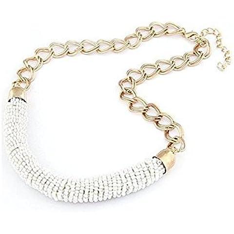 Collar - TOOGOO(R)Collar de cadena de perla de Boheme hecho a mano de moda -Blanco