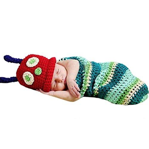 Candora Baby Boy Mädchen Beanie Häkelmütze Raupe Hungry Caterpillar Hut Set Party Kostüm Foto Requisiten ()