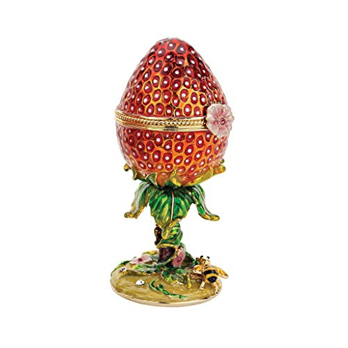 Design Toscano Garten-Erdbeere Schmuckdose, Emailliertes Ei im Faberge-Stil
