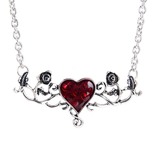 Halloween Blut Herz Rose Blume Halskette Punk Halskette Party Gothic Halskette für Frauen (Halloween Halsketten)