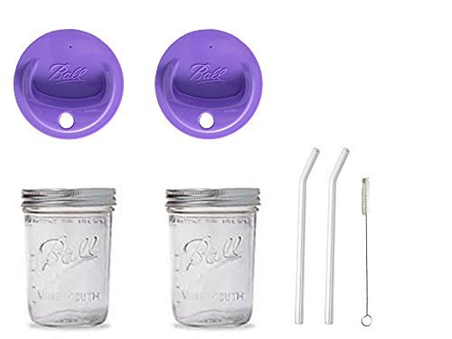 2 Mason Pint Drinking Jars with 2 Vintage Glass Bent Straws 8 inch x 9.5mm, (Pint Mason Jar)