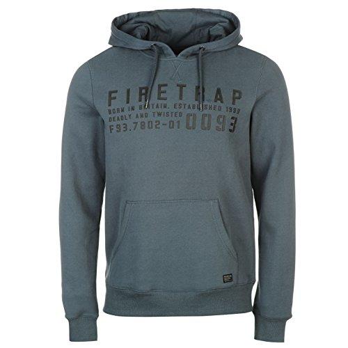 Firetrap Mens OTH Graphic Hoody Hoodie Hooded Top Long Sleeve Kangaroo Pocket Dark Slate XXL