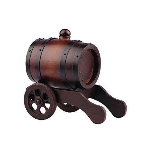 Massivholzfass - handgeschnitztes Art Eichenfass/Alkohol, Eichenfass und Basteleimer (0,75 l) - 23 cm / 30 cm x 15 cm / 14,5 cm x 23 cm / 24 cm (Rad) A ++ (Size : Double Wheel)