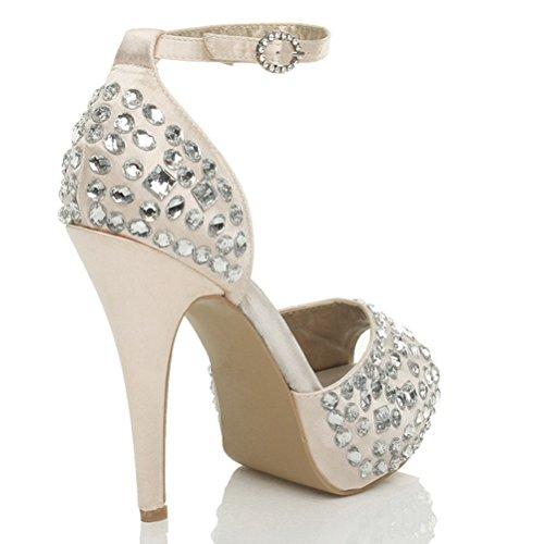 Donna tacco alto ingioiellati nozze sera punta aperta scarpe piattaforma taglia Champagne rosa beige