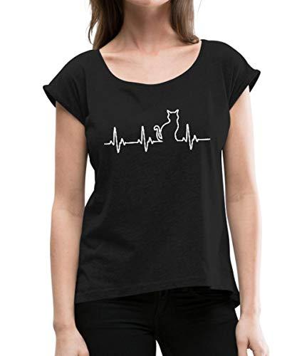 Spreadshirt Katze Silhouette EKG Herzschlag Katzenfan Frauen T-Shirt mit gerollten Ärmeln, L (40), Schwarz