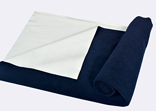 Trance Home Linen Baby Dry Sheets/100% Waterproof/Soft/Mattress/Bed/Crib Protector/Breathable/Underpad Navy Blue (Large)