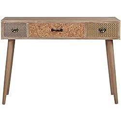 Viva Home Mesa de madera MDF, 104 x 40 x 75 cm de diseño único, con 3 cajones, Color marrón oscuro
