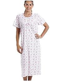 4173593048c6cf Damen Nachthemd aus 100% Baumwolle kurzärmelig weiß mit rosafarbenem  Blumenmuster