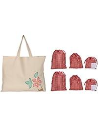 Mitti Se Mitti Tak Canvas Off-White Reusable Vegetable & Fruit Shopper Bag With 6 Red & White Checkered Drawstring...