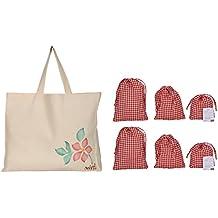 mitti se mitti tak. Canvas Off-White Reusable Vegetable & Fruit Shopper Bag with 6 red & White Checkered Drawstring Pouches