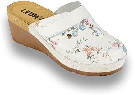 LEON 1003 Zuecos Zapatos Zapatillas de Cuero para Mujer