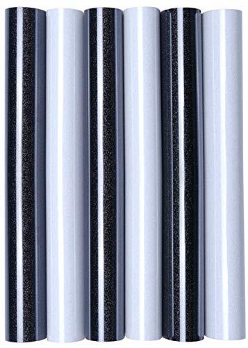 5er Set Glitter/Glitzer A4 Transferfolie/Textilfolie zum Aufbügeln auf Textilien - perfekt zum Plottern geeignet, Glitter 2:6er Set Black&White