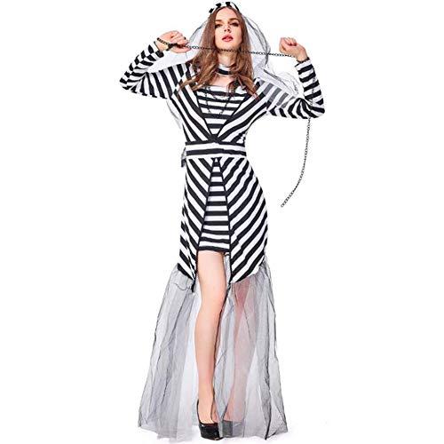 Gefangene Kostüm Mädchen - ASDF Cosplay Kleidung des Halloween-Gefangenenklagenstadiumsmaschen-Gefangenen
