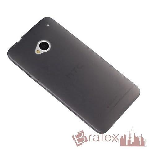 Bralexx 1438 Ultraslim Hülle für HTC One M7, Schwarz-Transparent