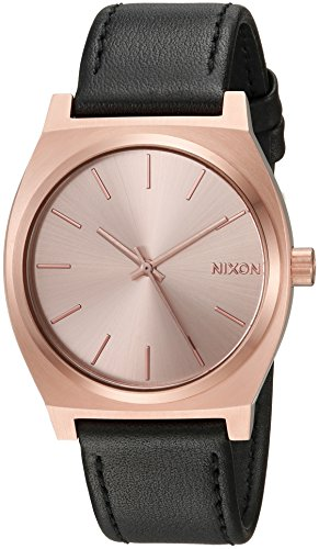 Nixon Men's 'Time Teller' Quartz Stainless Steel and Leather Casual Watch, Color:Black (Model: A0451932-00)