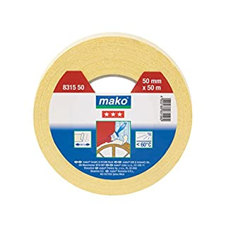 Mako 831550 Hochkrepp-Abdeckband 60°C (3 Stern) 50 mm x 50 m gelb