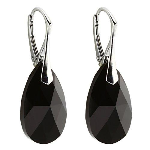 Ohrringe mit Swarovski Kristallen 22 mm von m3crystal Farbe JET damen-Ohrstecker Silber Kristall für Damen Nickelfrei Sterling Silberkette Damen 925 Rhodiniert 30 - Halskette Schwarz-silber-ohrringe