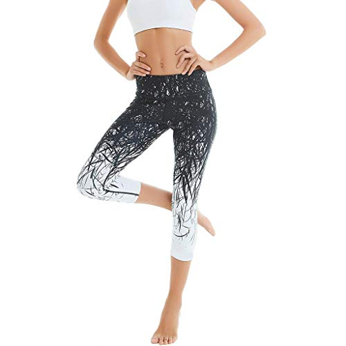 Sport Leggings Damen 3/4 | Laufhose Capri Dreiviertel 3 4 | Fitness Sport Tights Schwarz,Yoga Hose Leopard,Sporthose Jogging Bunt Farbig High Waist,Stretch Workout Fitness URIBAKY -