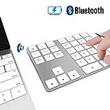 Pavé Numérique sans Fil Bluetooth Rechargeable 34 Touches Extension pour Entrée de Données sur Excel et Numbers sur iMac, MacBook Pro, Ordinateurs Portables - Blanc