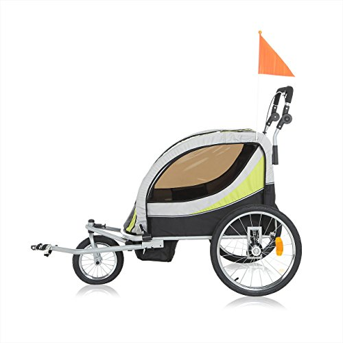 SAMAX Children Bike Trailer PREMIUM 2in1 Kids Jogger Stroller with Suspension 360° rotatable Childs Bicycle Trailer Transport Buggy Carrier for 2 Kids in Green/Grey – Silver Frame