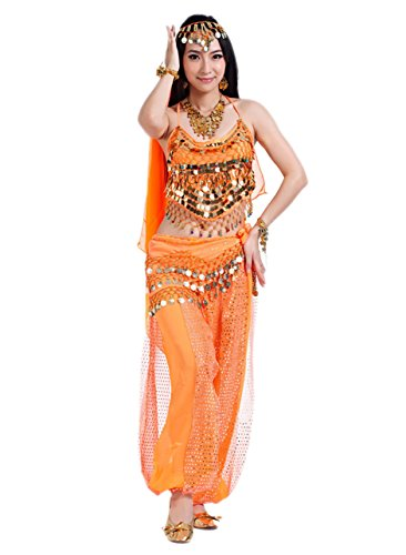 men Indische Tanzkostüm Faschings-Kostüm Erwachsene Orange (Damen Halloween Kostüme)