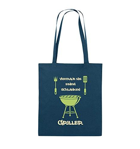 Comedy Bags - Vertraue nie einem schlanken Griller - Jutebeutel - lange Henkel - 38x42cm - Farbe: Schwarz / Weiss-Neongrün Navy / Beige-Hellgrün
