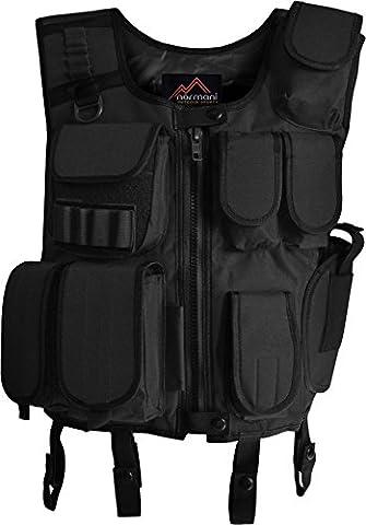 Taktische SWAT Weste mit Pistolenholster und abnehmbarem Schriftzug auf dem Rücken [XS-4XL] Farbe Schwarz/Security Größe (James Bond 007 Kostüme)