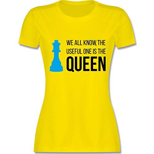 Typisch Frauen - Schach-Damen Queen - Damen T-Shirt Rundhals Lemon Gelb
