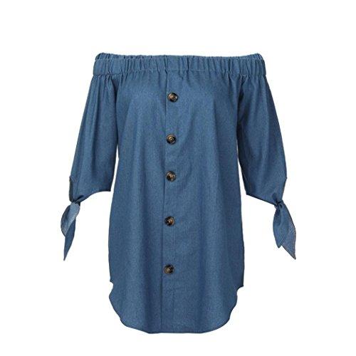 MIRRAY Damen aus der Schulter Minikleid Knöpfe Hemd Halbarm Kleid