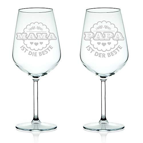 Leonardo Lot de 4 verres à vin Mama ist die beste & Papa ist der Beste dans un set – Cadeau pour les parents – Fête des Mères et fête des pères