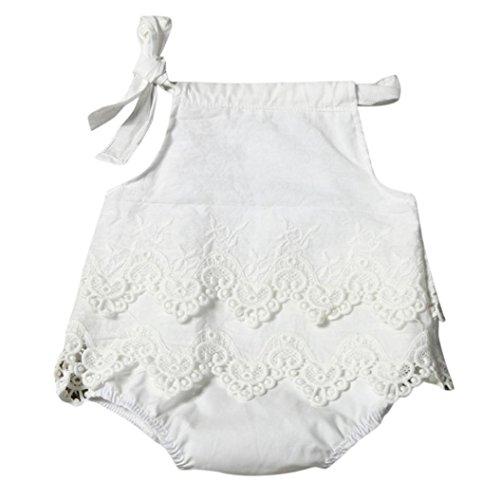 Koly_Vestiti appena nati neonate pizzo pagliaccetto maniche tuta Outfit prendisole