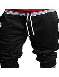 Tongshi Pantalones de chándal deporte de los hombres pantalones cortos holgados del Harem de baile activan los pantalones de entrenamiento (Negro, M)