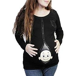 T-Shirt de Maternité Femme Enceinte Hiver Pas Cher a la Mode Pull Enceinte Grande Taille Atuomne Chemise Maternité T Shirt Manche Longue Printemps Grossesse Tunique Haut Blouse