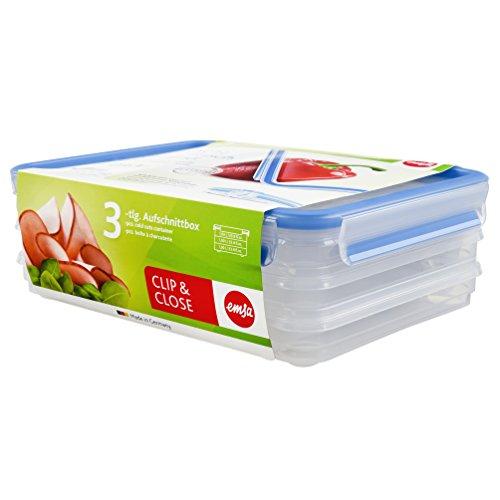 Emsa 508556 Aufschnittbox-System mit Deckel, 1 Liter, Transparent/Blau, Clip & Close Einzigartiger Behälter Mit Deckel
