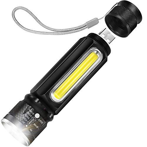 Cofuture LED Taschenlampe USB Handlampe T6 800 Lumen Zoom mit Magnetischer Fuß Taktische Lampe mit COB Seitliches Lampe