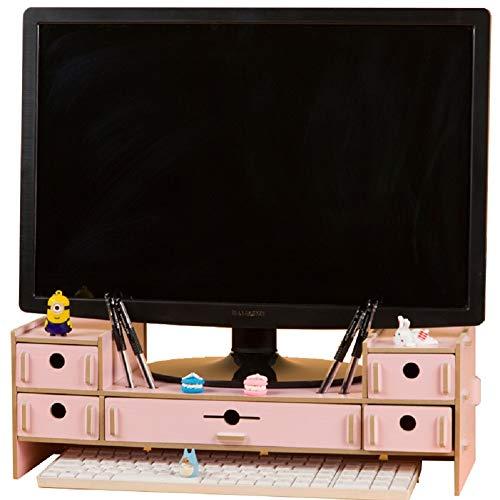 SanQing Monitorständer mit 5 Schubladen, Monitorständer aus Holz, PC-Ständer mit Aufbewahrung, Schreibtisch-Organizer aus Holz,pink