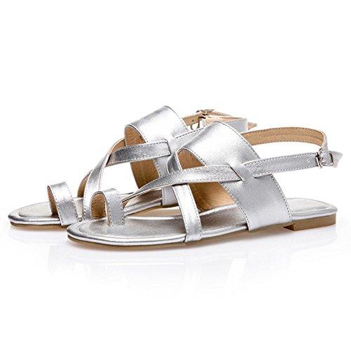 COOLCEPT Damen Mode Slip On Sandalen Flach Niedrig Absatz Singback Schuhe Gr Silber