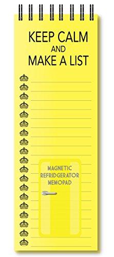 Nourish Keep Calm and Make a List Yellow Magnetic Refrigerator Memo Pad