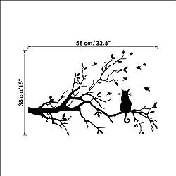 SLQUIET Chat mignon sur une branche d'arbre oiseaux Sticker vinyle Art Decal fenêtre Sticker fenêtre pochoir pour enfants Room Decor Noir Couleur 38x58cm