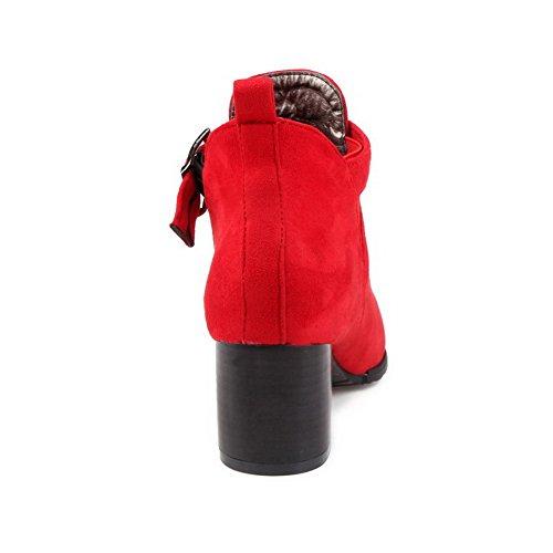 VogueZone009 Femme Rond à Talon Correct Dépolissement De Cheville Couleur Unie Bottes Rouge