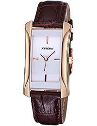 Relojes Hermosos, SINOBI rectángulo artículo Artículo escalera de aguja Moda mujer reloj de cuarzo con banda de cuero PU ( SKU : S-WA-0194CJ )