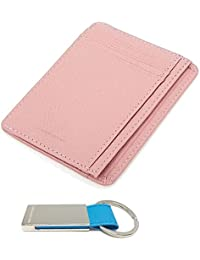 Leather Mini Slim Wallet Women Useful Card Wallets Small Purse Business Card Wallet (Indi Pink) By Torcia & Doyona