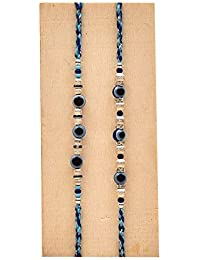 Tokenz Evil Eye Rakhi Set of 2 Guthi Work Blue Thread for Brother with Rakshabandhan Roli Chawal Tikka