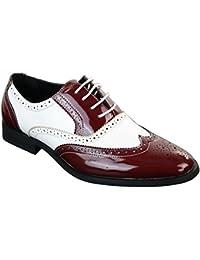 Chaussures homme cuir PU verni brillant style brogues Gatsby années 20 en  noir rouge blanc 15d552dac7fb