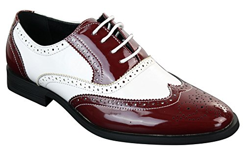 Patron scarpe classiche da uomo in finta pelle lucida con lacci stile elegante brogue rosso-bianco 11uk, 45eu