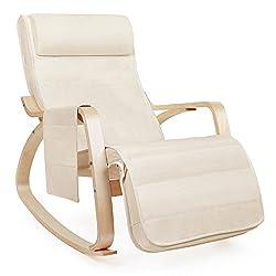 Songmics Schaukelstuhl 5-fach verstellbares Fußteil Belastbarkeit 150 kg, Leinen, beige, 67 x 80 x 91 cm