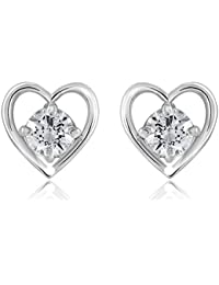 Shiyara Jewells 92.5 Sterling Silver Solitaire Touchable Heart Stud Earrings Made With Swarovski Zirconia As Valentine...