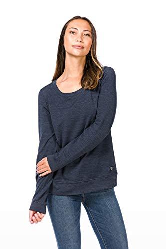 super.natural Bequemer Damen Pullover, Mit Merinowolle, W ESSENTIAL CREW NECK, Größe: M, Farbe: Dunkelblau