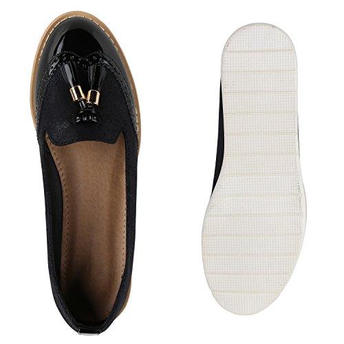 Damen Slipper Lack | Plateau Loafers | Metallic Schuhe Profilsohle | Loafer Flats Glitzer | Slippers Quasten Lochung Schwarz